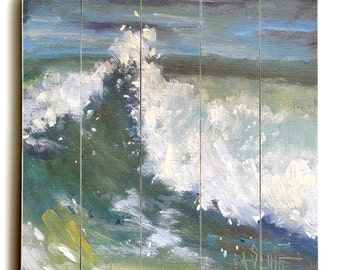 Seascape Giclee Print, Giclee Print on Wood Plank, Choose Your Size, Ready to Hang, Free Shipping, No Frame Needed