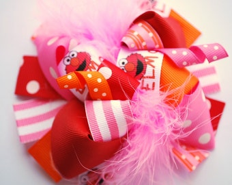 boutique FUNKY fun furry RED MONSTER hair bow clip