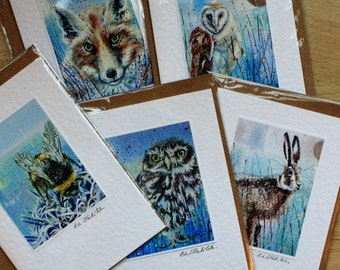 Animal Greeting Cards/blank greetings card/greeting card set/artist greetings cards/bridget skanski-such/hare/owl/fox/bee/jack rabbit