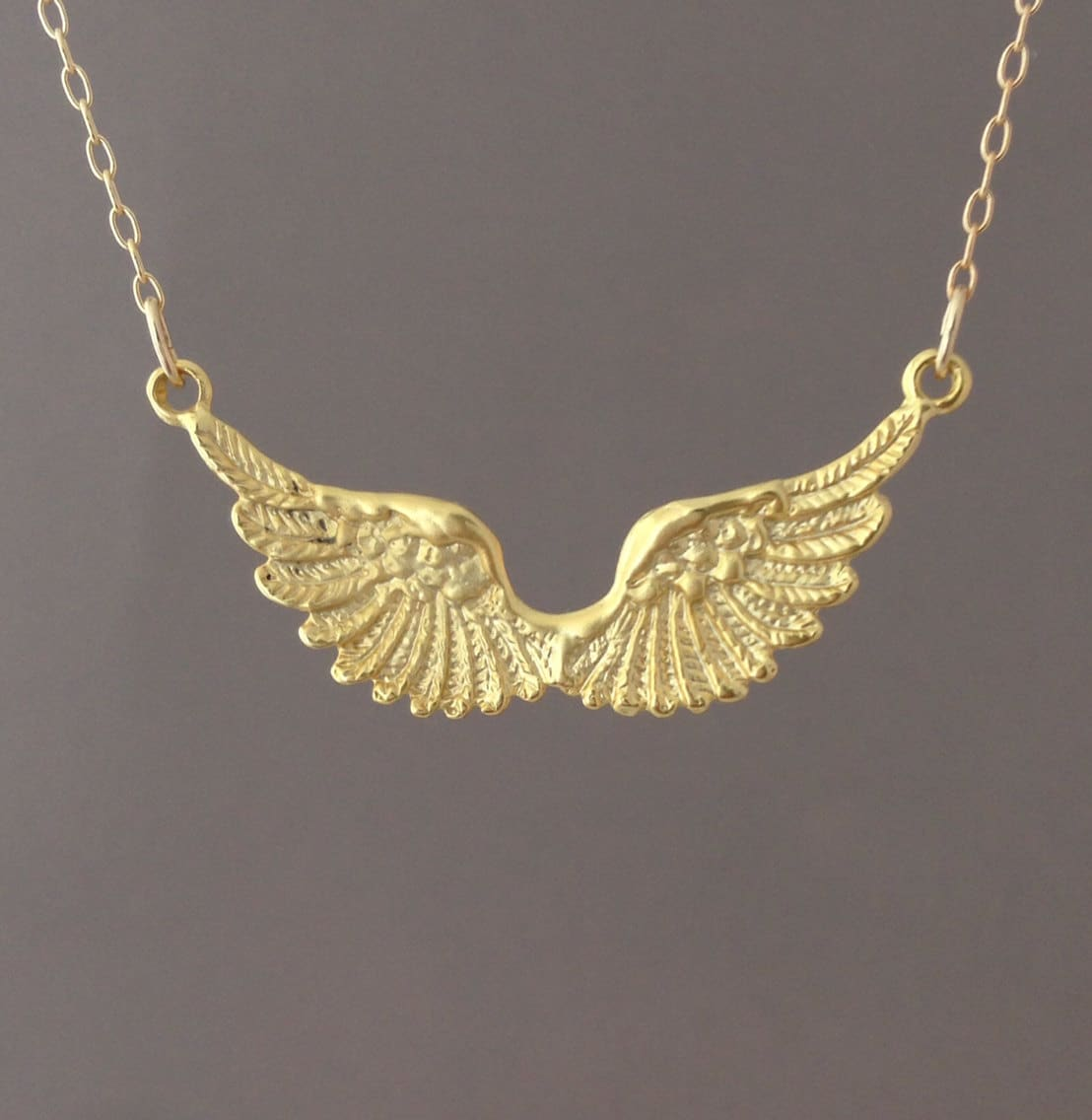 with wing wings pin necklace angel message personalised large