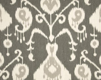 Custom Pillow Cover / Java Ikat Pewter by Magnolia Home Fashions in Charcoal Grey Gray / Both Sides / Made to Order