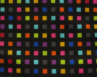 SALE- Colorworks Concepts small colorful squares on black by Northcott -2 yards