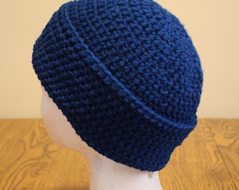 Adult size beanie-style crocheted winter hat