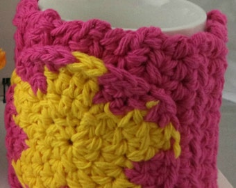 Crocheted Coffee or Ice Cream Cozy in Hot Pink Cotton with Hot Pink and Yellow Star Pocket with Pink Button (SWG-F09)