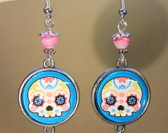 "Earrings ""Mexican skull"" calavera, fantasy"