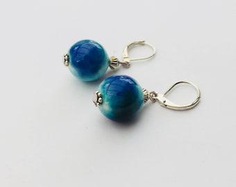 Blue ceramic Stud Earrings