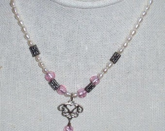 Fresh Water Pearl Necklace with Pink Stones and Sterling Accents
