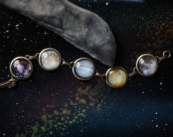 Galilean Moon Bracelet - Moons of Jupiter Silver or Bronze Space Bracelet - Lunar Jewelry, Cosmos, Astronomy, Unique, Science, Gift, Simple