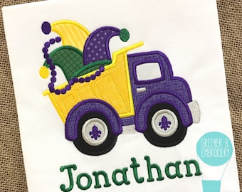 Mardi Gras Applique Shirt / Mardi Gras Dump Truck / Jester Hat / Toddler Mardi Gras / Boy Mardi Gras / Personalized Mardi Gras Shirt