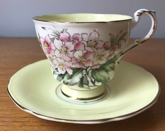 Paragon Hand Painted Pink Flower Teacup and Saucer, Pastel Yellow Floral Footed Tea Cup and Saucer, Vintage Bone China