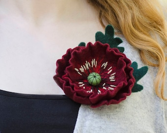 Statement Jewelry Dark Red Poppy Pin Burgundy Flower Brooch Statement Gift for Mum Gift Idea Mothers Day Gift Idea for Wife Poppies Jewelry