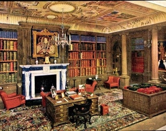 c.1930s QUEEN Elizabeth's DOLLHOUSE Furniture; The Library; Raphael Tuck & Sons Postcard No. 4501; Series II; Mint