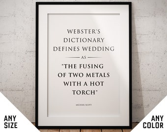 Michael Scott poster - quote print, gifts wall art The Office TV Show sign art Websters dictionary funny wedding gift engagement anniversary