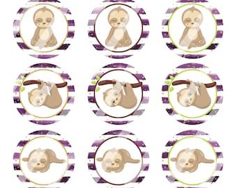 INSTANT DOWNLOAD / Sloths /Purple Watercolor Stripe Background /Digital Bottle Cap Image Sheet / 1 Inch Circles / 4x6 Collage Sheet /# BC208