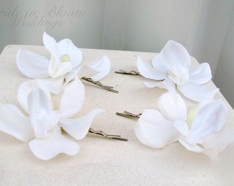 Wedding hair accessories - White orchid bobby pins - Set of 4 Bridal hair flowers