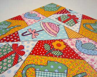 Vintage 1982 Bridal Shower Wrapping Paper Colorful Gift Wrap Patchwork Quilt