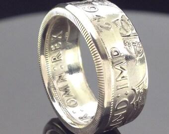 British Silver Half Crown Coin Ring (1928-1945)