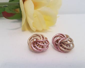 1980s Vintage Twisted Rose Gold And Gold Tone Clip On Earrings - Two Tone - Round - Circle - Gift For Her - Valentine's Day