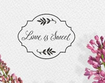 Love is Sweet Hochzeitsstempel, 50x40mm, Rahmen, Blätter, Zweige, Hochzeit, Stempel, MENUST, GASTST, HSMR1