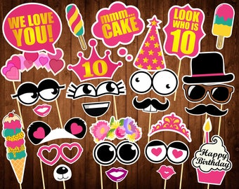 10th Birthday Photo Booth Props - Printable PDF - 10 Birthday Supplies - Girl's Birthday Photo Props - 10th Birthday Party Ideas