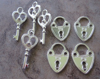 8 Silver Plated Pewter Lock and Key Set Charms, 4 Sets - JD107 & JD112