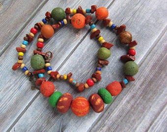 Polymer Clay Necklace, Multicolor Necklace, Boho Rustic Ethnic Necklace, Tribal Necklace, Short, Bright Gift, Rustic Jewelry Beaded Necklace