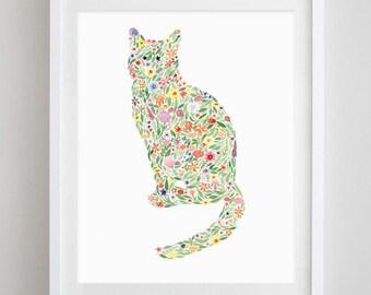 Cat Floral Watercolor Art Print