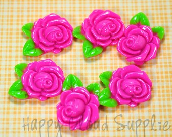 Hot Pink Resin Rose Cabochons with Leaves... 6pcs
