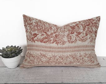 Shabby Chic Pillow, Linen Farmhouse Pillow, Vintage Style Pillow, Rustic, Floral Pillow Cover, Striped, Rust Copper Pillow, 12x18, 14x20