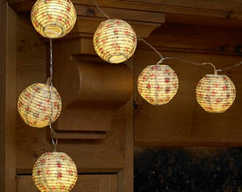 Floral Rose Lantern String Lights Battery Operated Fairy Lights (10)