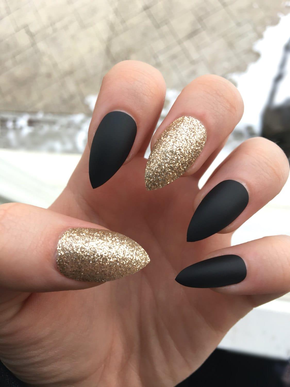 stiletto nails, black matte, glitter nails, gold glitter, press on ...