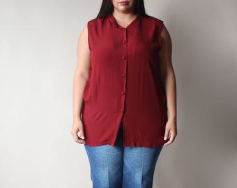 SALE plus size vintage blouse | sleeveless cranberry tunic top, size 14-18