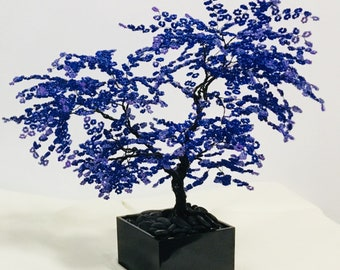 Blue Beaded Bonsai Wire Tree Sculpture with Lilac tips
