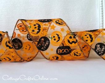 "Halloween Wired Ribbon, 2 1/2"", Orange Jack O'Lanterns, Black Glitter Pumpkin on Sheer - THREE YARDS - Offray, ""Ozzie"", Wire Edged Ribbon"
