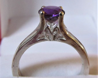 7mm Round Amethyst Sterling Silver Tulip Ring of 1.20 Carats