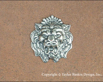 Antiqued Sterling Silver Plated Dapped Lion Head Component (item 8462 AS) - 2 pieces