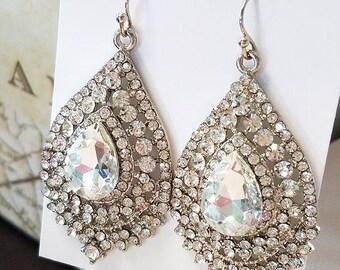 Crystal Earrings, Silver Statement Earrings, Wedding Jewelry, Silver Bridesmaid Jewelry, Dangle Earrings,