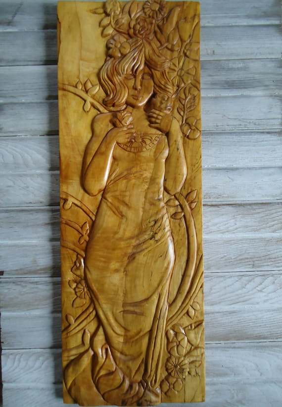 Female sculpture Panel art Wall artwork Hand carved