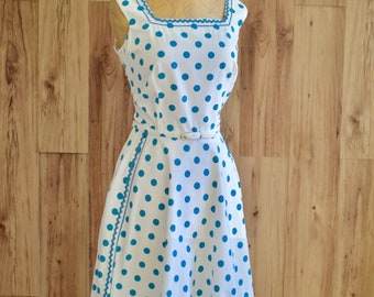 1950s Polka Dot Sun Dress, Fifties Big Blue Dots Dress, Vintage Dress with Pockets, Pinup Rockabilly Dress, Sleeveless Cotton Day Dress