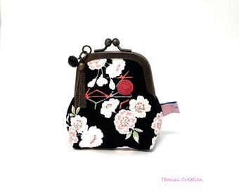 Retro coin door original coin purse handmade Japanese fabric black floral Ava