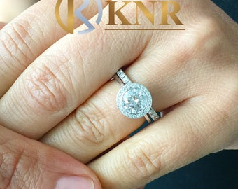 Women's 14k solid white gold Round cut moissanite and natural round cut diamond engagement ring Bridal Wedding Halo 1.80ctw