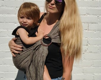 100% Linen Ring Sling Baby Carrier in Stone