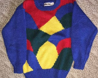 Vintage Women's Cable Knit Cosby Sweater Made By Via L.A. Size Unknown Multi Color