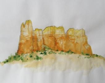 Sedona Mountains, watercolor