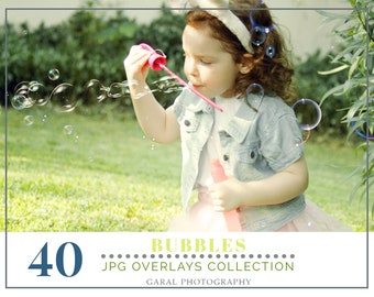 40 Bubbles Photoshop Overlays: Realistic Soap air bubble Photo effect layer, Outdoor mini Sessions with kids, Professional Retouching
