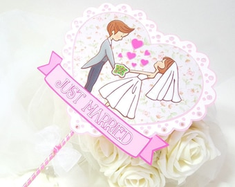 Cake topper Wedding just married // pink Cartoon COLLAGE // newlyweds lovers