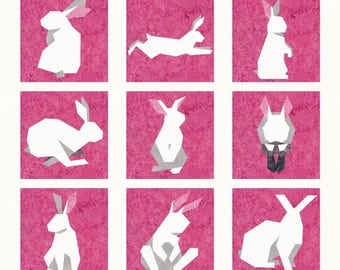 Bunnies - 9 Quilt Block Patterns - Foundation Paper Piece Patch - PDF Download: Easter Bunny, Rabbits