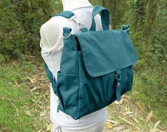 Teal green canvas backpack for men and women, multipurpose bag, canvas rucksack, travel bag, school bag, diaper bag, gift for him