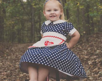 I Love Lucy Inspired 3 piece set - Vintage style dress, appliqued apron, hair tie,   Girls Sizes 10, 12, Halloween, pageant