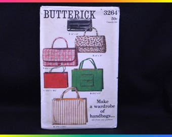 Butterick Sewing Pattern 3264, Make a Wardrobe of Handbags All From One Pattern, CUT